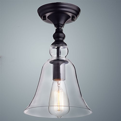 CLAXY Ecopower Vintage Hanging Big Bell Glass Shade Ceiling Light- 1 Light
