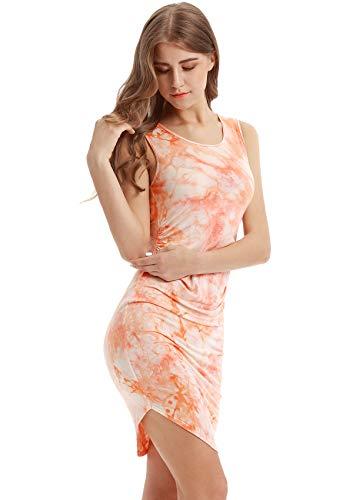 ぬるいナサニエル区局Ccoco Vessos Womenノースリーブ染色カクテルイブニングパーティーカジュアルミニSundress Dress-Orange-L