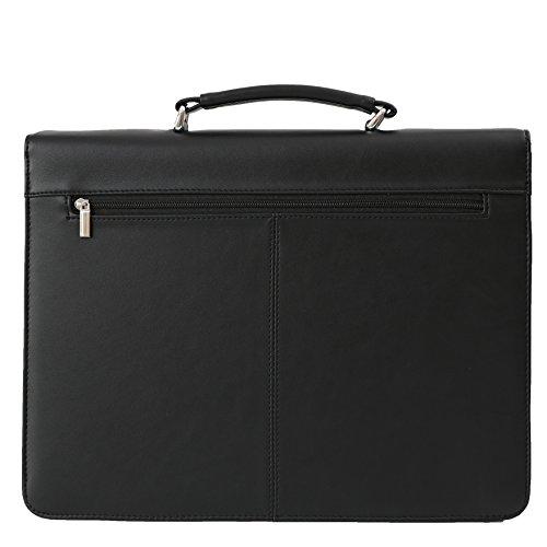 DEERLUX Men's Leather Laptop Briefcase, Black, One Size by DEERLUX (Image #2)