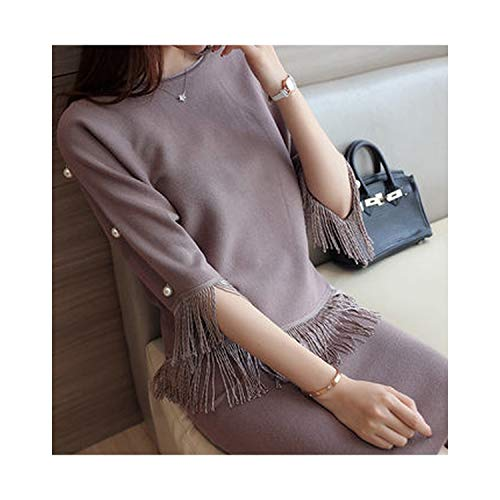 This is an Upgrade Product,Autumn Women's Fashion Tassel Two-Piece Stretch Knit Sets,Khaki,L ()