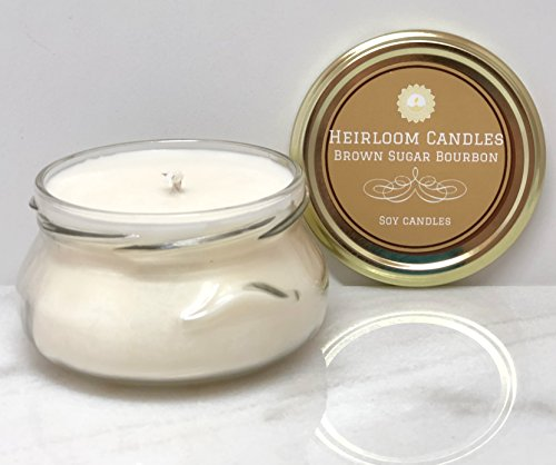 Brown Sugar Bourbon Scented Soy Candle in Glass Tureen Handmade, ()