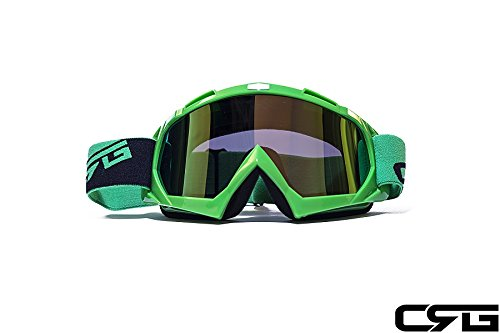 CRG Sports Motocross ATV Dirt Bike Off Road Racing Goggles ORANGE T815-7-6 T815-7-6 - Parent (Multi-color lens green frame) by CRG Sports