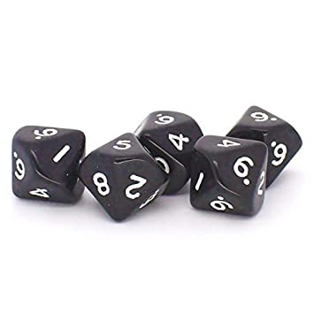 big cherry dice 5x black d10 die 10 sided dice amazon co uk toys