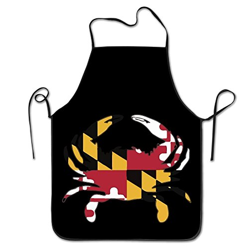 Funny Maryland Flag Crab Kitchen Aprons For Women Men