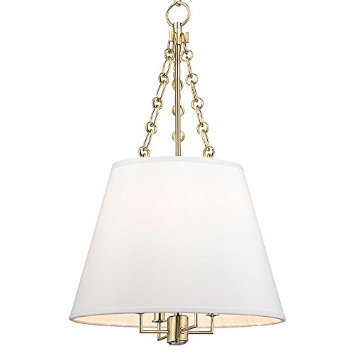 Burdett 4-Light Pendant - Aged Brass Finish with White Faux Silk Shade