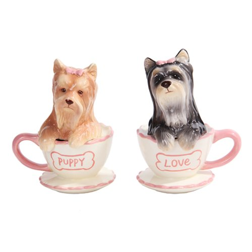 Pacific Trading Yorkie in Tea Cup Yorkshire Terriers Salt and Pepper Shakers (Yorkie Terrier Teacup)
