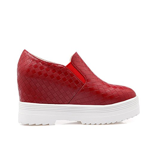 VogueZone009 Women's Pull On Round Closed Toe High-Heels PU Solid Pumps-Shoes Red lmTSk8B0i
