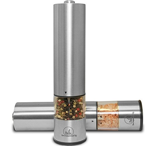 Home Improvement City Electric Salt And Pepper Grinder Set with LED Light - Battery Operated Stainless Steel Mills | Automatic One Touch Grinders with Adjustable Ceramic Coarseness and Bottom Lids