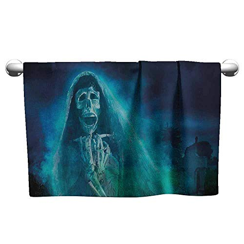 DUCKIL Luxury Hand Towels Skull Decorations Gothic Dark Background with a Dead Ghost Skull Skeleton Mystical Haunted Horror Halloween Theme Bathroom Hand Towels Set 23 x 8 inch Blue -