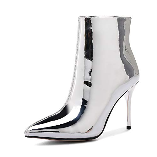 (BalaMasa Womens Bucket-Style High-Heels Zipper Silver Urethane Boots ABM13070-10.5 B(M) US)