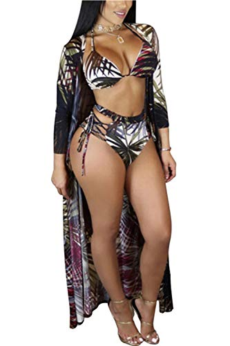 Women's Sexy Colorful One-Piece or Two-Piece Bikini Swimsuits Underwear with Cover up (L, Black)