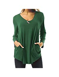 HHmei Women Solid Color Elegant Long Sleeve Solid V-Neck Work Wear Shirts Blouse