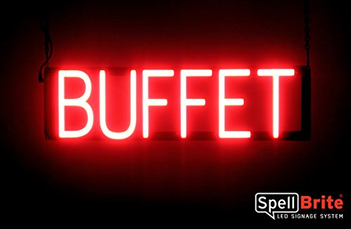 (SpellBrite Ultra-Bright BUFFET Sign Neon-LED Sign (Neon look, LED performance))