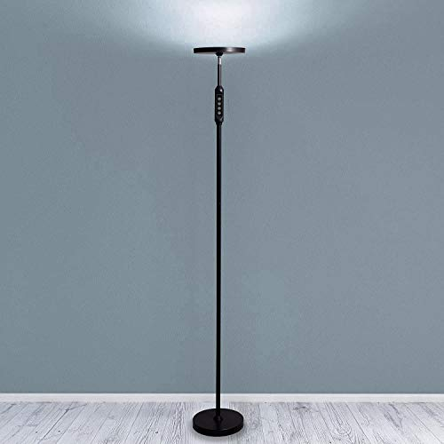 Daylight LED Floor Standing Lamp - Tall Modern Reading Task Uplight - 24W Adjustable Warm Cool Super Bright Natural Light Torchiere for Living Room, Dorm, Bedroom or Office - Dimmable - Black