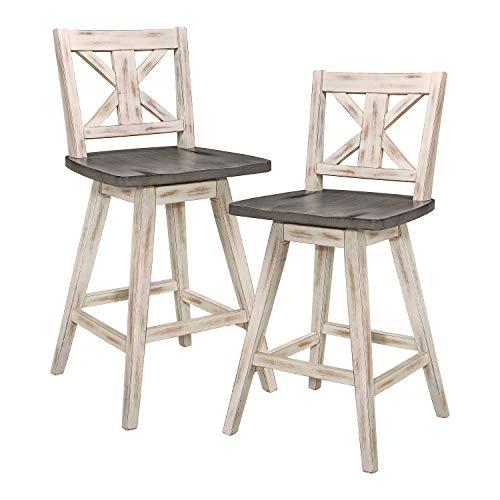 Homelegance Amsonia Counter Height Swivel Stool (2 Pack), White (Rustic Kitchen Bar Stools)
