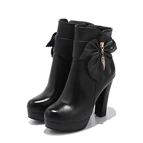 Urethane Zipper Boots High Bootie Closed Black Dress A Toe Warm DKU01904 Heel Womens Leather amp;N Lining Toe Smooth Round Boots Road Zip FOUqEYwxq