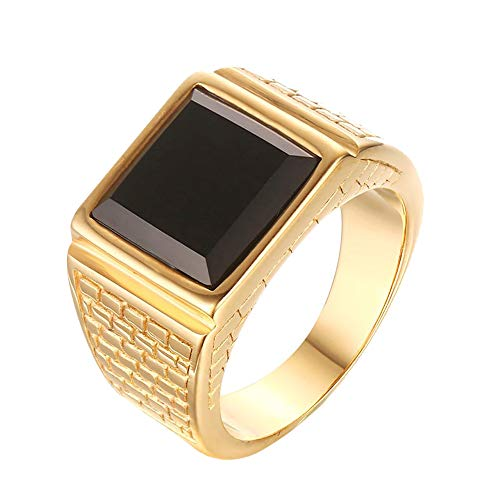 CARTER PAUL Men's Stainless Steel Black Onyx Gold Ring Europe and America Style, Size 8 (Gold Rings Men)