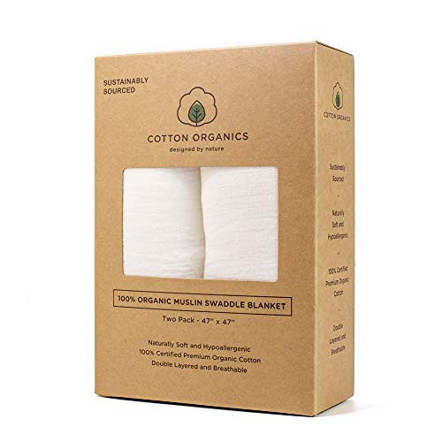 Cotton Organics Muslin Swaddle Blankets - Extra Soft and Hypoallergenic Organic Cotton - Pack of 2