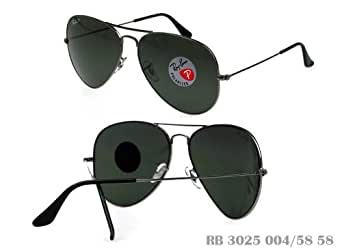 Ray-Ban Polarized Aviator Sunglasses RB 3025 004/58 Gunmetal Green Lens 58mm