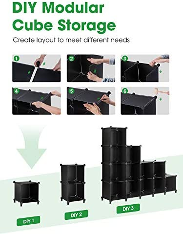 Puroma Cube Storage Organizer 12-Cube Closet Storage Shelves with Wooden Hammer DIY Closet Cabinet Bookshelf Plastic Square Organizer Shelving for Home, Office, Bedroom - Black
