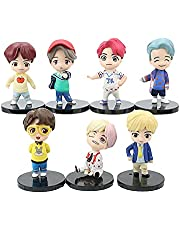 7PCS BTS Cake Toppers Standing Position Characters Set, Children Mini Toys, Cupcake Topper for Birthday Party Supplies