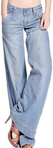 Easy New Retro Fashion womans Lady Casual Wide-leg Denim Jeans Blue Pants