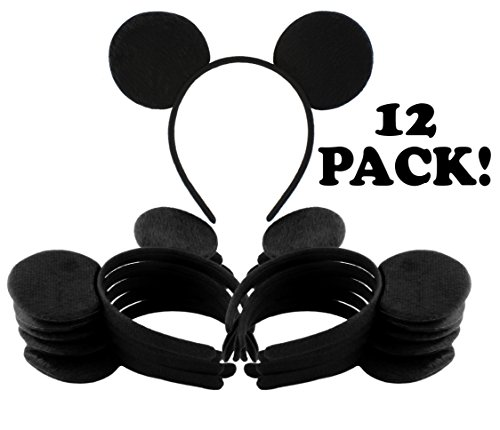 Black Mouse Ear Headbands (12-Pack); Mickey Style Headgear for Costume/Party Favors -