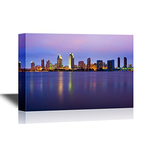 wall26 - USA City Skyline Canvas Wall Art - San Diego Skyline at Night - Gallery Wrap Modern Home Decor | Ready to Hang - 32x48 inches -