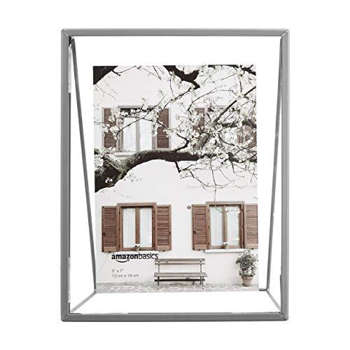 AmazonBasics Wedge Floating Photo Frame for 5 x 7 Inch Photos - Slim Frame, Nickel