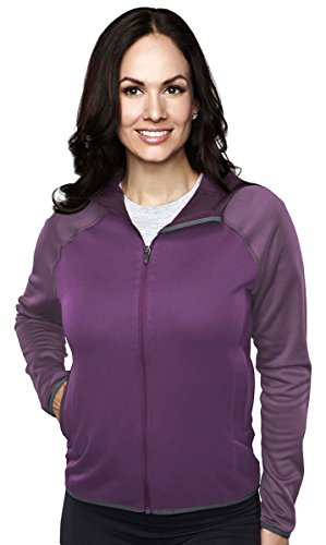 Tri-Mountain Lady Raven Lightweight Wicking Performance Fleece Hooded Jacket, XL, CONCORD/EGGPLANT