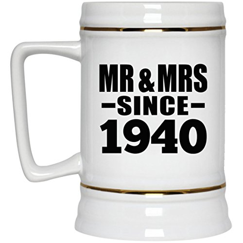 Anniversary Best Gift Idea Mr & Mrs Since 1940 - Beer Stein Ceramic Beer Mug Funny Gag for Wife Husband Women Men Her Him Couple Parent Wedding -