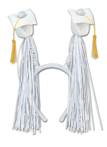 Grad Cap W/fringe Boppers (White) Party Accessory (1 Count) (1/pkg) Pkg/12 by PMU