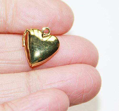 10 Gold Plated Smooth Heart Locket Pendant 13x15mm, Puff Heart Locket, Locket Pendant, Gold Pendant