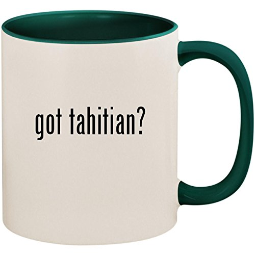 got tahitian? - 11oz Ceramic Colored Inside and Handle Coffee Mug Cup, Green - Michele Green Necklace