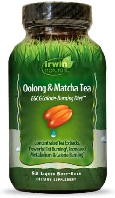 Oolong & Matcha Tea EGCG by Irwin Naturals, Supports Health Weight and Metabolism, 63 Liquid Softgels