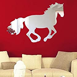 Ussore Wall Sticker Galloping Horse DIY Mirror Wall Clock Wall Stickerl Art For Kids Home Living Room House Bedroom Bathroom Kitchen Office Home Decoration
