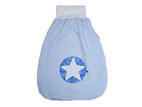 Saco de dormir Saco para bebé de 70 cm Cuadros Color Azul Claro con nombre bordado Stoff: Karo Hellblau, Schrift: Grün Talla:70 cm: Amazon.es: Bebé