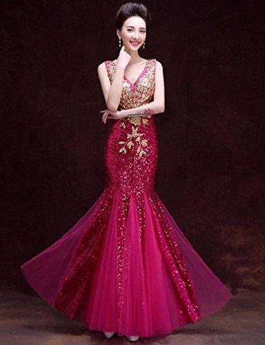 Beauté Emily V-sequin Appliqué Cou Robe De Soirée Sans Manches De Sirène Rose