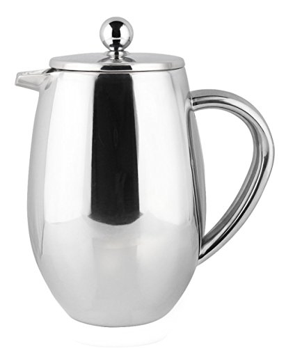 (Bruntmor, DUBLIN 34oz Double Wall 18/8 Steel French Coffee Press with Double Filters, NEW Improved Non Drip Spout)