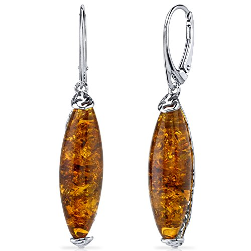 Baltic Amber Earrings Sterling Silver Cognac Color