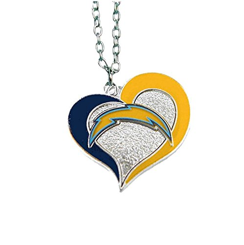NFL Swirl Heart Necklace San Diego Chargers Chain