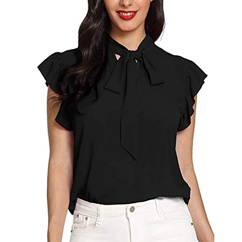 Price comparison product image TIFENNY Lotus Collar Sleeveless Shirt for Women Casual Cap Sleeve Bow Tie T-Shirt Solid Chiffon Blouse Tops Black