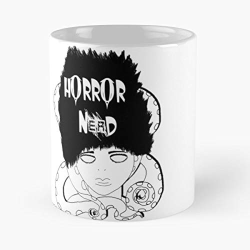 Tentacle Octopus Black White No Eyes Girl Women Nerd Horror Junji Ito Anime Manga Hair - Handmade Funny 11oz Mug Best Holidays Gifts For Men Women Friends. (Anime Girl With Black Hair And White Eyes)