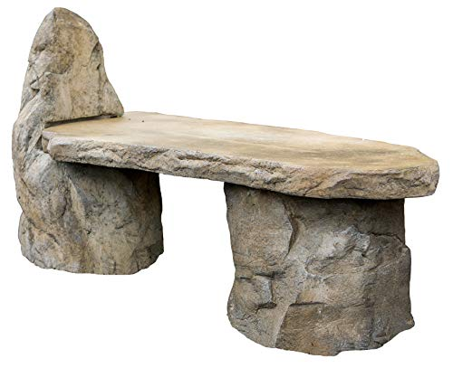 Garden Bench Basalt Stone Boulder Bench with Back, Cast Stone Rustic Lounge Bench, Outdoor Garden Patio Bench, 3 Piece Hand Sculpted Rock Garden Bench Outdoor Decor For Sale