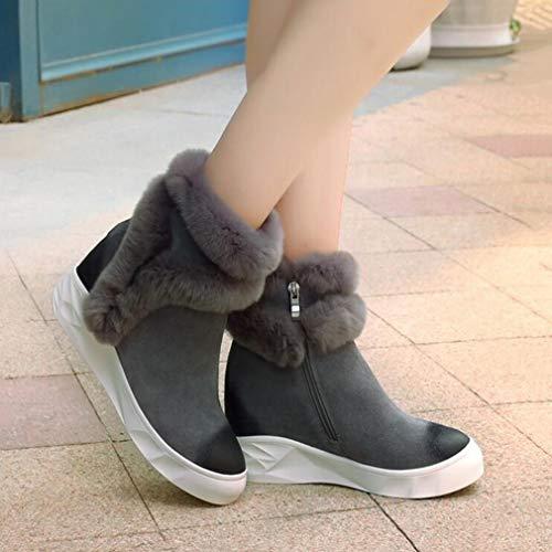 Neri scarpe Invernale Caldi Grigi Da Neve Antivento Passeggio Hy Stivali In Alti Invernali Stivaletti Pelle Cashmere Grigio Donna Moda Plus stivali x68nUnq