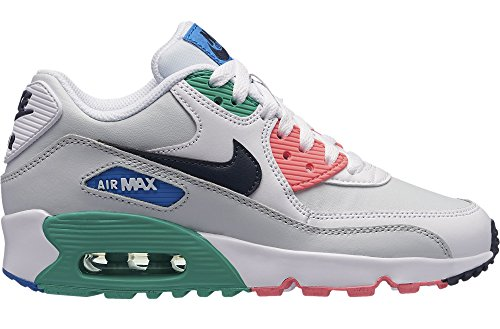 NIKE Boys' Air Max 90 Leather (GS) Shoe, White/Obsidian-Pure Platinum-Blue Nebula, 6Y by NIKE (Image #2)