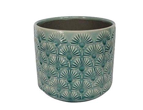 Ventilatore stile vintage con cover in blu ceramica vaso per piante