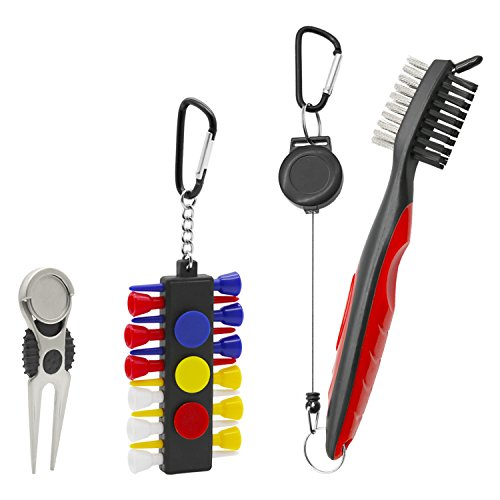 Golf Club Brush Cleaner, Golf Divot Repair Tool Ball Marker, Golf Tee Pack (12 Tees with Holder) - Golf Accessories Ideal for Golfers - 3 in 1 Golf Kit by Handy Picks (Plastic Piece 2 Tee)