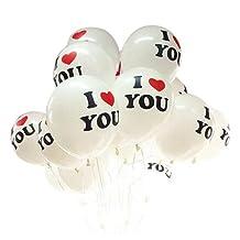 SODIAL(R) Good Quality 10pcs/lot Romantic 12 inch Balloon I LOVE YOU Balloons Christmas Wedding Decorations