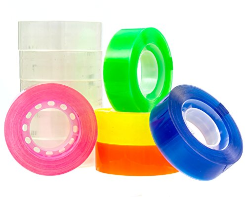 Transparent tape 10 Rolls | Bundle Pack 5 Clear + 5 colors Yellow Orange, Pink, Blue, Green | 3/4inch by 1,150 inches each | Safe & Great for arts and crafts Students , office, mail ,Construction Photo #4